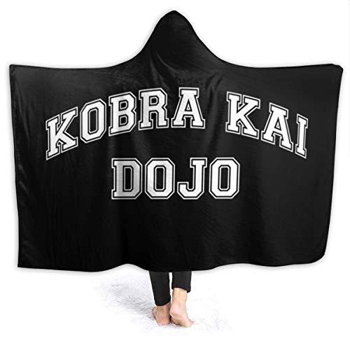 KOMOBB Cobra Kai Dojo - Manta con capucha y texto universitario (forro polar, supersuave, con capucha, ajuste a la cama, sofá para niños, mujeres y hombres