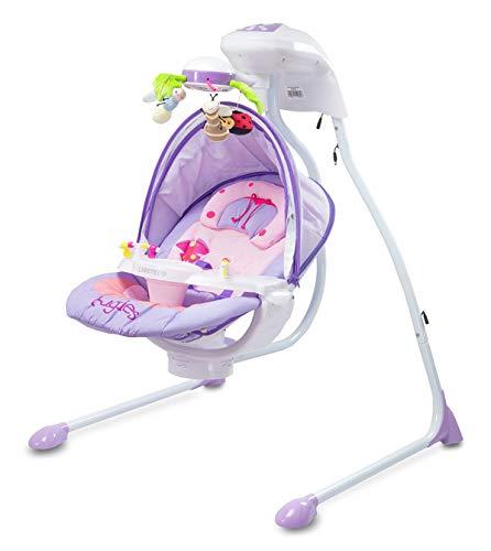 CARETERO Bugies Babyschaukel Babywippe Schaukelwippe drehbarer Sitz Timer elektronisches Mobile mit Lichern, Farbe: Purple