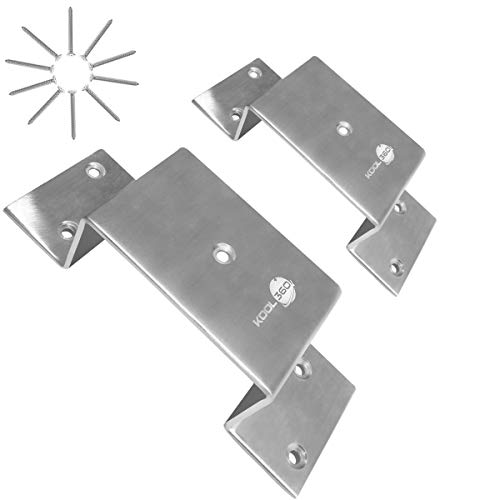 """Heavy Duty Stainless Steel 2x4 Door Barricade Brackets  1 Pair Closed Bar Holder with Screws  2.5"""" Wide Closed Barricade Bracket for 2 by 4 Board  Utility Trailer Stake Pockets for Flat Bed and Truck """