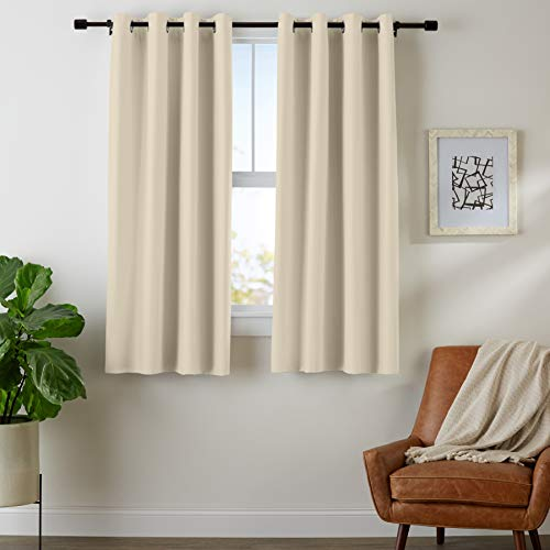 AmazonBasics Room Darkening Blackout Window Curtains with Grommets  - 42' x 63', Taupe, 2 Panels