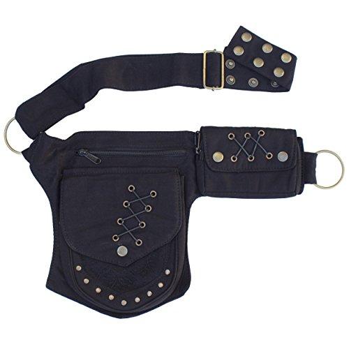 Renaissance Faire Festival Lace Fannypack Waistbag Cotton Utility Hip Belt-Black-One Size