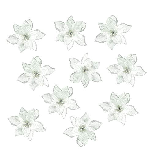 QTFHR Christmas Flowers Artificial Wedding Christmas Flowers Glitter Christmas Tree Ornaments(10 pcs) (Silver)