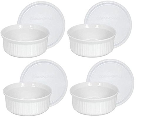 CorningWare French White Pop-Ins 16-Ounce Round Dish with Plastic Cover, Pack of 4 Dishes