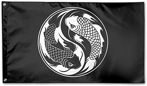 Garten dekorative Flaggen Fahnen Yin Yang Koi Fish Logo Garden Flag 3x5 FT Banner Flags Game Anniversary Decorations for Yard House Outdoor Party Supplies