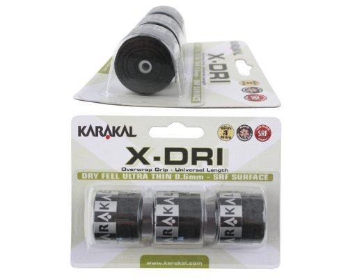 Karakal x-dri Sobregrip para Raquetas–Tenis–Squash–Raqueta de bádminton, Negro