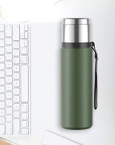 Yumanluo Cantimplora Termo con Doble Aislamient,Hervidor de Agua de Gran Capacidad para Exteriores-Green_670ml,Botella de Agua Acero Inoxidable