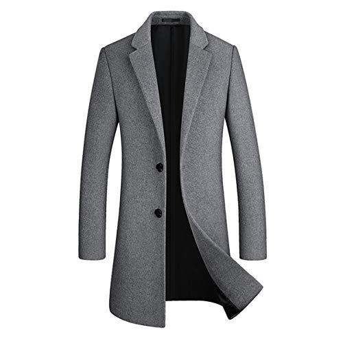 Sliktaa Homme Manteau Laine Hivers Mi-Long Boutonnage Slim Fit Affaires Casual A La Mode Epais Couleur Unie Outerwear 8 Couleurs