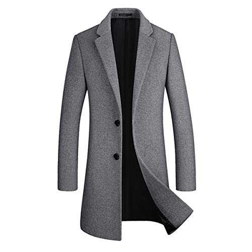 Sliktaa Homme Manteau Laine Hivers Mi-Long Boutonnage Slim Fit Affaires Casual A La Mode Epais Couleur Unie Outerwear 8 Couleurs