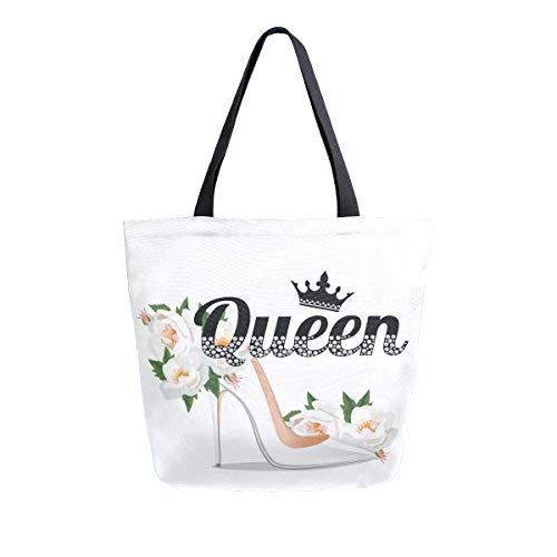 Bolsos Monedero Shopping Queen Slogan con diamantes de imitación y rama Pretty Shoe Crystal Flower Correa ligera Bolsos de hombro Wildlife Tote Bag para mujeres Niñas Damas Estudiante