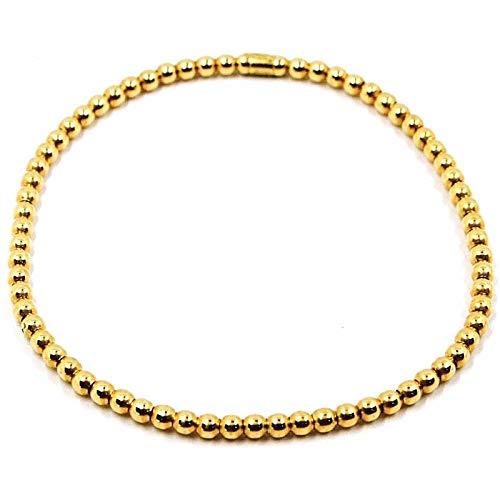 Pulsera elástica de oro amarillo de 18 quilates, bolas, grosor de 3 mm, fabricada en Italia.