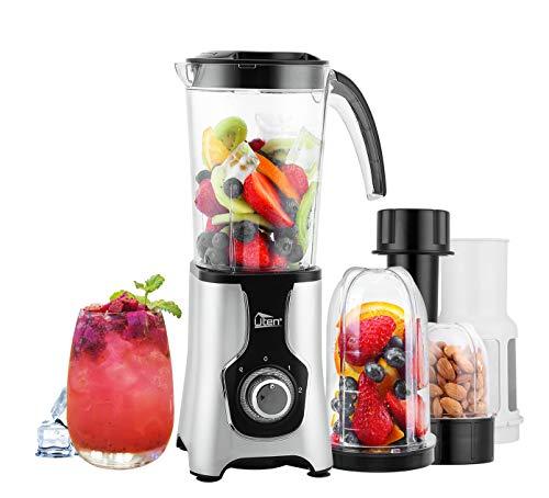 Blender Smoothie 1.25L, Uten Mini Blender, Mixeur Blender pour Milk-Shake, Jus de Fruits et Légumes, Blender Portable pour Sport, Voyage et Maison, Tritan Sans BP, Inox Argenté
