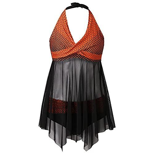 N\P - Costume da bagno sexy da donna con scollo a V e patchwork imbottito push up Plus Size, Arancione, 4XL