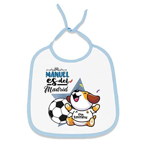 Babero personalizado nombre de bebé equipo de fútbol, niño y niña (Real Madrid CF, Niño)