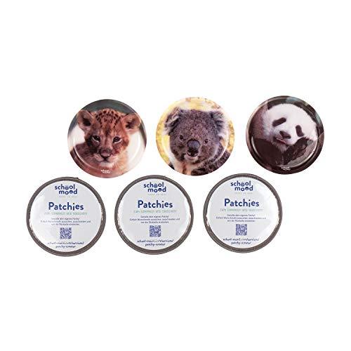 SCHOOL-MOOD Patchy-Set - 6-teilig - Klett-Patchies für Schulranzen und Zubehör (Tierkinder)