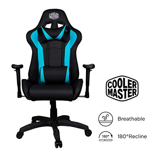 Cooler Master Caliber R1, PC Gaming Racing Chair Ergonomic High Back Office Chair, Seat Height and Armrest Adjustment, Recliner, Cushions with Headrest and Lumbar Support- Cyan-Blue blue chair gaming