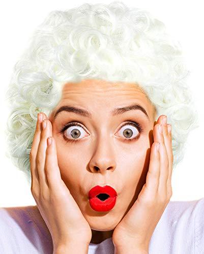 Balinco Großmutter | Oma | Granny | Grandma Perücke weiß gelockt / lockig - das perfekte Oma Kostüm Accessoire für die Verkleidung zum Fasching / Karneval Party