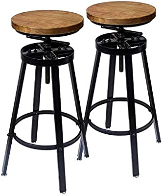 GREMOBABALA Counter Height,Adjustable Black Metal Swivel Bar Stools/Chair - Contemporary Barstools Set