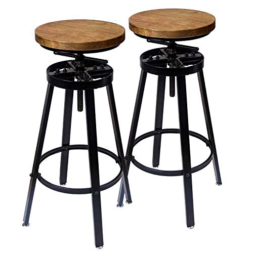 GREMOBABALA Counter Height,Adjustable Black Metal Swivel Bar Stools/Chair - Contemporary Barstools Set of 2 for Bistro Pub Kitchen Coffee - Round Wood Seat