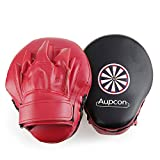 AUPCON Curved Focus Pad Punch Mitts, Boxing Karate Kicking Pad, Training Boxing Target PU Leather Muay Thai MMA Martial Art Kickboxing Punch Kicking Shield Training(Red)