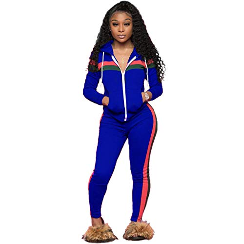 ZJFZML Blouses for Women Fashion 2020 Work Ladies Long Sleeve Tunic Tops Lightweight Exercise Activewear Outdoor Flare Loose Fit Elastic Athletic Running Pant 2PCS Sweatsuit Blue L