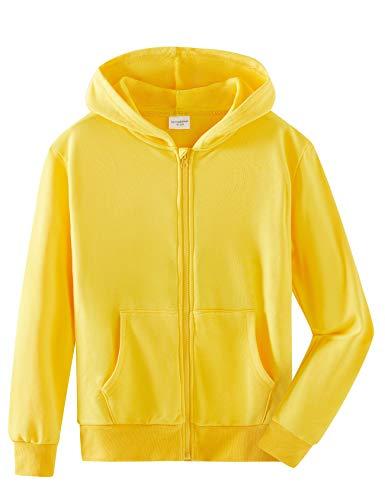 Spring & Gege Garçons Sweat à Capuchon Veste de Survêtement en Coton à Capuche de Couleur Unie pour Enfants Jaune 9-10 Ans