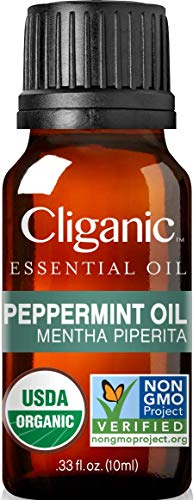 Cliganic USDA Organic Peppermint Essential Oil, 100% Pure Natural Undiluted, for Aromatherapy | Non-GMO Verified