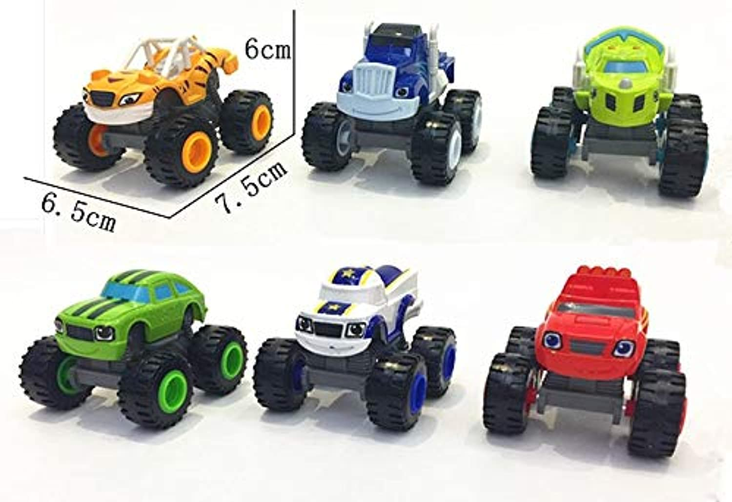 Generic 6 PCS Set Russia Miracle Cars Blaze Toys Vehicle Car Transformation Toys with Box Gifts for Kids Blaze and The MONSTE