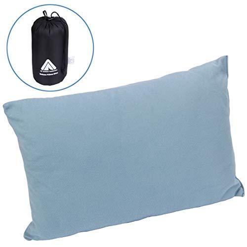 10T Deluxe Pillow blauw 40x30x10 cm fleece kussen reiskussen hoofdkussen nekkussen met draagzak
