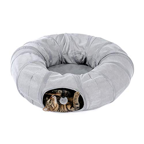 PAWZ Road Katzentunnel Katzenspielzeug Hundetunnel Donut Kreis Form faltbar abnehmbar grau