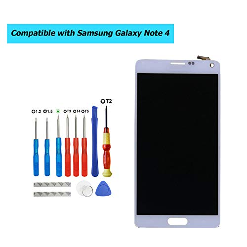E-YIIVIIL - Pantalla LCD de repuesto para Samsung Galaxy Note 4 SM-N910C, SM-N910F (incluye kit de herramientas), color blanco