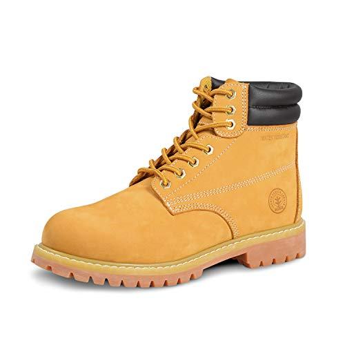 Jacata Men's Water Resistant Leather Work Boot Rubber Sole Construction Oil Resistant Utility Industrial Boots (Size 9)
