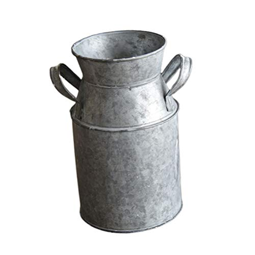 HEMOTON Vintage Galvanized Vase Shabby Flower Bucket for European Style Wedding Fresh Dry Flower Iron Sheet Rústico...