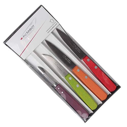 Coffret de 4 Couteaux 'indispensables' manche bois panachés AU SABOT. Made in France. 2 offices lame 8 cm, 1 bec oiseau, 1 éplucheur