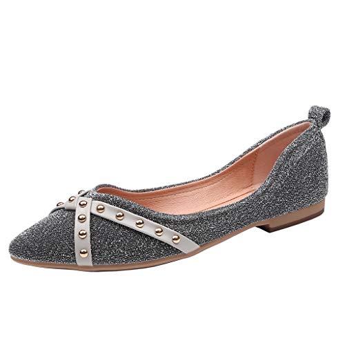 Morran Damen Flache Schuhe Einzelne Schuhe Arbeitsschuhe Freizeitschuhe Classics Temperament Wilde Einzelne Schuhe Spitz Flacher Mund Runde Schnalle Flache