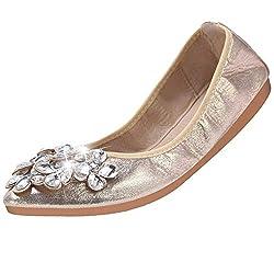 Gold-3 Foldable Ballet Flats Rhinestone Pointed Toe Slip on