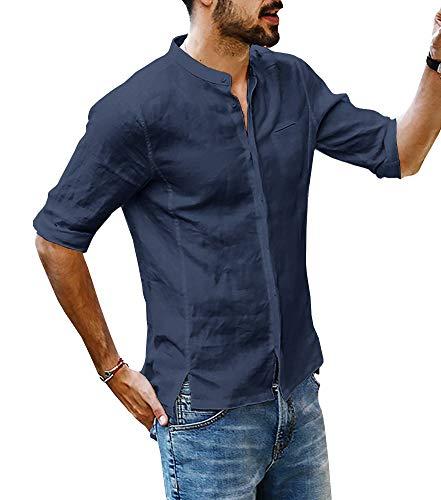 Hooleeger Herren Leinenhemd Freizeithemd Stehkragen Henley Shirt 3/4 Arm Sommer Hemd Slim Fit Brusttasche Langarmhemd,Dunkelblau,L