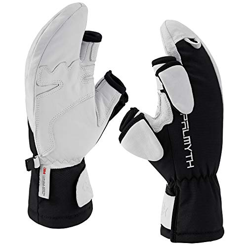 Palmyth Magnetic Leather Ice Fishing Gloves Convertible Mittens Ski Gloves with Thinsulate 3M Warm for Cold Weather and Winter Men Women Photography Snow Shooting (Black, Large)