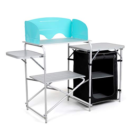 Laralinc Camp Kitchen Table with Windscreen and Carrying Bag - Aluminum Camping Equipment, Portable, and Lightweight - Folding Cook Grill Station Cupboard Storage for BBQ, Picnics, and Tailgating