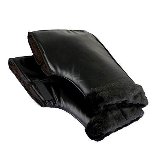 LEMESO Lenker Handschuhe für Motorrad Winter Handgriff Schutz Motorradhülle Leder Wasserdicht für Elektroauto Motorräder Roller Lenker Handschuhe (40 x 25cm)