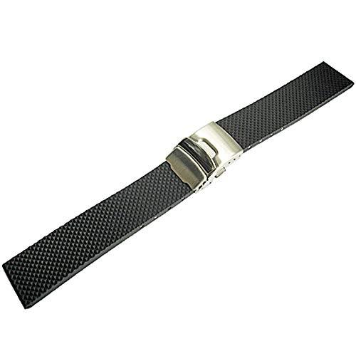 Bonetto Cinturini 22mm Black Rubber Watch Strap Model 300D
