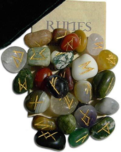Enchanted Jewelry Gemstone Rune Set with Velvet Bag and Instruction Pamphlet (RSM)