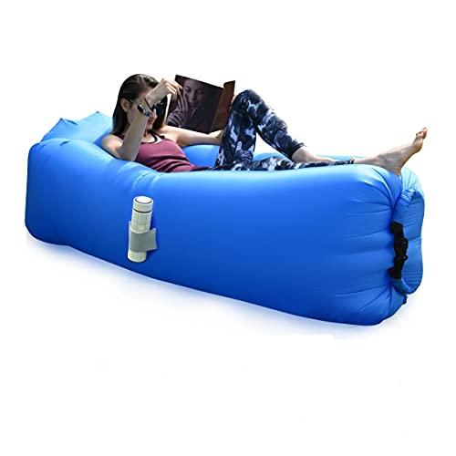 BACKTURE Aufblasbares Sofa, Aufblasbarer Lounger mit bequemen Kissen, Tragbares Luft Sofa, Luft Couch, für Camping, Urlaub, Wandern(Dunkelblau)