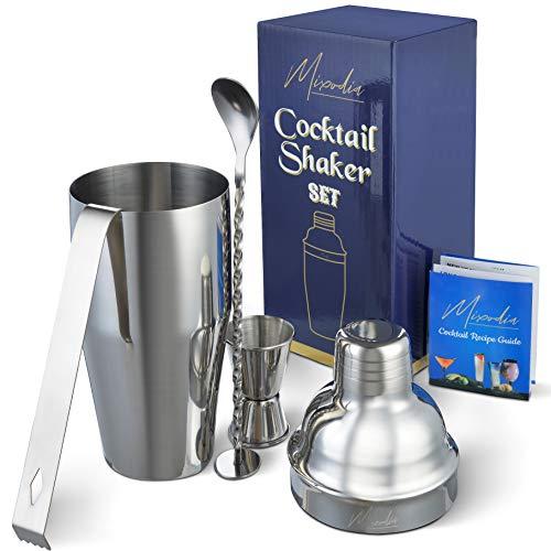 Cocktail Shaker Bar Tools Set – Premium Bartender Accessories Kit – 24 oz Stainless Steel Builtin Strainer Measuring Jigger Mixing Spoon Bonus Ice Tongs Drink Recipes Booklet amp eBook – Gift