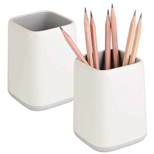 2 Pack Desk Pen Holder,Two-Tone Cute Pen Cup Makeup Brush Holder,Durable Desktop Organizer Pencil Holder for Desk,Vanity Table,Office Supplies (Gray)