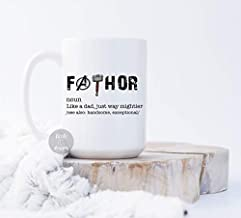 Little Elk Designs - Father's Day Gift For Him- Fathor Like A Dad, Just Way Mightier- Ceramic Coffee Mug White 15 oz