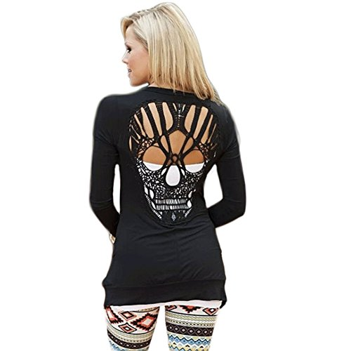 WLLW Womens Long Sleeve Open Front Back Cut Out Skull Cardigan Tops Black