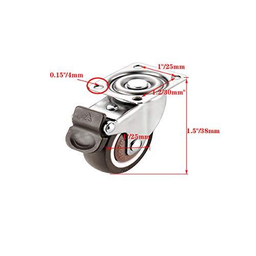 41Kvz03E3EL. SL500  - 4 ruedas para muebles de 25 mm con tornillos, frenos de goma, pequeñas ruedas giratorias para muebles, ruedas de carga pesada para muebles de palés (25 mm)