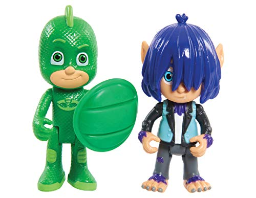 PJ Masks-95263 Pack 2 Figuras con Luz Y Villano Geo Y Wolfe