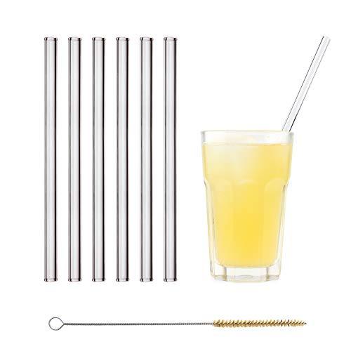 HALM Glas Strohhalme Wiederverwendbar Glastrinkhalme - 6 Stück gerade 23 cm + plastikfreie Reinigungsbürste Glasstrohalme