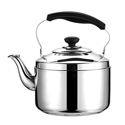 APEIOLI Stovetop Kettles Stovetop Kettle 304 Stainless Steel Material, Whistling Tea Kettle with Heat-resistant Ergonomic Handle (Color : SILVER, Size : 6L)